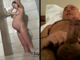 Watch - Man masturbates watching pregnant woman