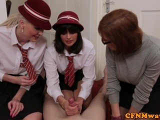 Watch - Brit femdom Lexi Lou and co jerk guy off