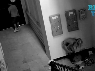 Watch - Babe Gets Caught Changing In Stairwell