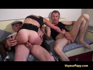 Watch - Papy fucks in threesome