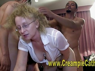 Watch - Her 1st Creampie Orgy