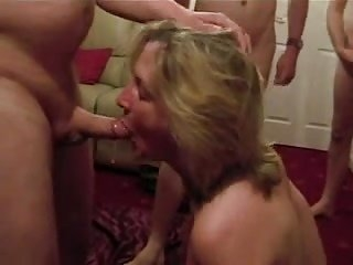Watch - Cumslut wife sucks a lot of men
