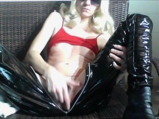 Watch - HORNY GIRL loves to SQUIRT, spike heels & latex!